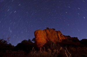 Star trails around a light-painted bluff, one hour before sunrise.