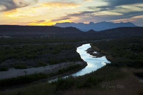 The Rio Grande and Chisos Mountains from overlook near Rio Grande Campground.