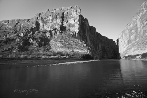 Santa Elena Canyon in black and white.