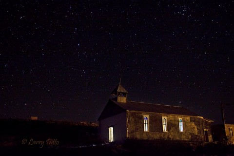 Light painting an old church in Terlingua, Texas on a clear night.
