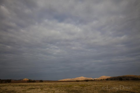 Sunlight on the Wichita Mountains on a stormy autumn morning.