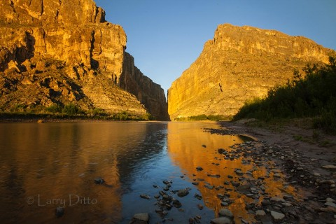 Big  Bend National Park at sunrise in Santa Elena Canyon.