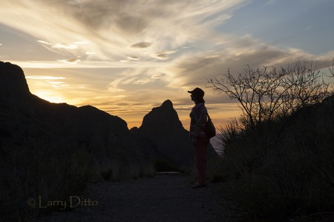"Tourist watching the sun set through ""the window"" in the Chisos Mts. in Big Bend National Park"