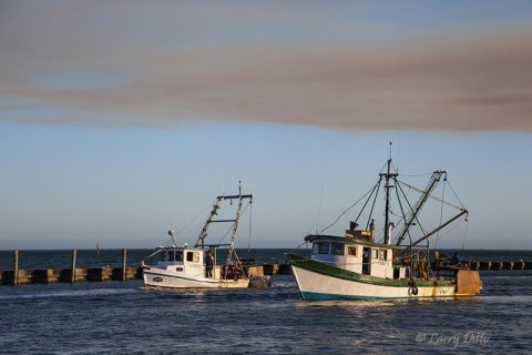 Oystering boats in Fulton Harbor, Texas