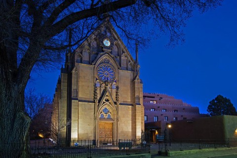 Historic Santa Fe Church at night.
