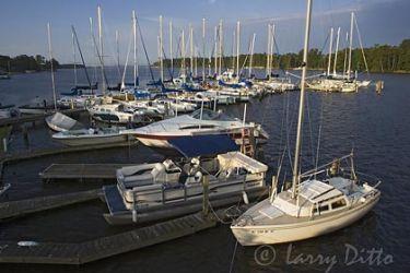 Boats in harbor on Bath Creek, historic Bath, North Carolina, spirng