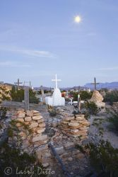 Terlingua, Texas ghost town cemetery and full moon