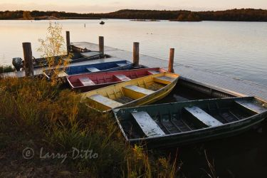 Lake Mineral Wells State Park and rental boats at Trailways Trading Post.