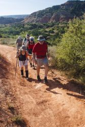 Hikers on Capitol Rock trail in Palo Duro Canyon State Park, Texas, September