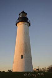 Port Isabel Lighthouse, Port Isabel, Texas at sunrise with 3/4 moon
