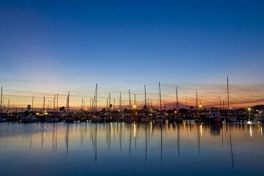 Rockport, Texas harbor at sunset, winter