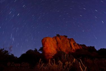 Star Trails and red bluffs, Texas